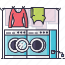 cloths, laundry, machine, switch, washing, women icon