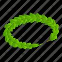 cartoon, circle, green, isometric, laurel, victory, wreath