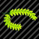 award, cartoon, green, isometric, laurel, medal, wreath
