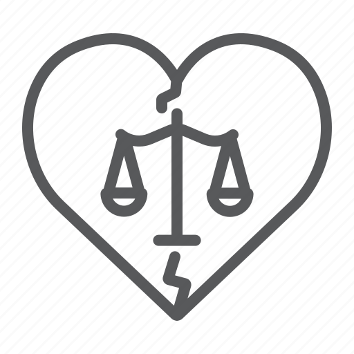 broken, divorce, heart, law, love, marriage, separation icon