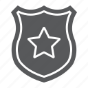 badge, law, officer, police, shield, star