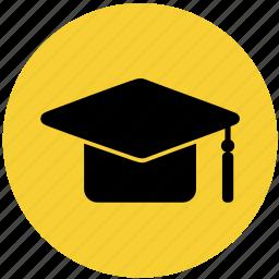 college, education, graduation hat, hat, law, school icon