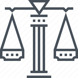 court, judge, law, lawyer, prison, scale, trial icon