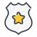 badge, law, police, shield, star icon