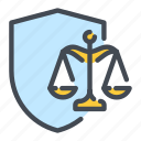 defence, justice, law, prodection, scale, security, shield icon
