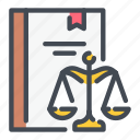 book, constitution, justice, law, scale icon