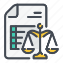 doc, document, justice, law, list, scale icon