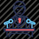 candidate, microphones, president, tribune icon