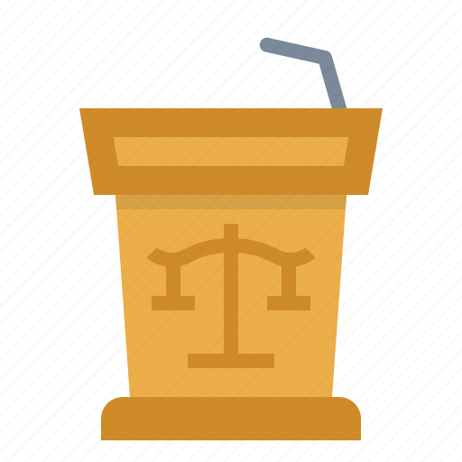 court, justice, law, podium, scales icon