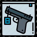 crime, evidence, gun, investigate icon