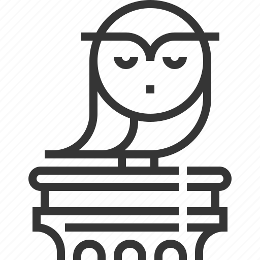 column, education law, justice, owl, rights, school, student icon