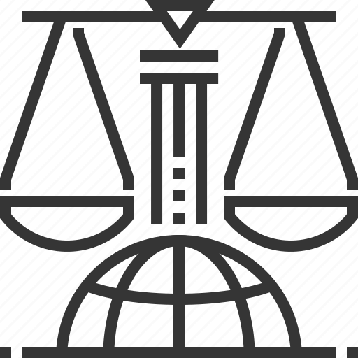 business, globe, international law, justice, measure, scale icon