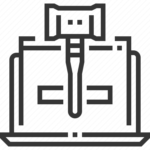 computer, internet, judge hammer, justice, law, rules, technology icon