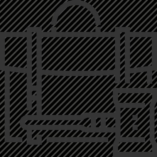 briefcase, employment law, judge hammer, justice, suitcase icon