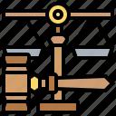 balance, courtroom, gavel, judge, justice icon