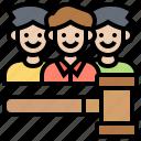 courtroom, gavel, jurisdiction, jury, people icon