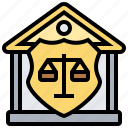 balance, courthouse, justice, legislation, shield icon