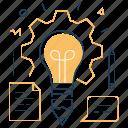 creative process, pencil, lightbulb, brainstorm