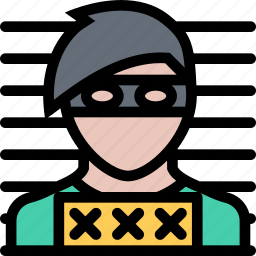 court, crime, law, lawyer, photo, police, robber icon