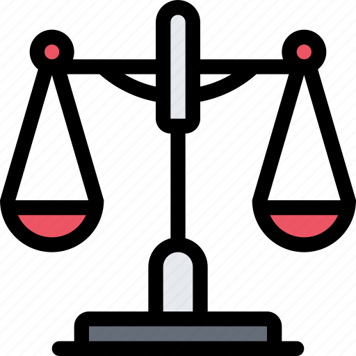 court, crime, law, lawyer, police, scales icon