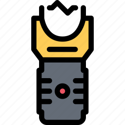 court, crime, law, lawyer, police, taser icon