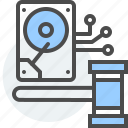 data, disk, e-discovery, hard drive, law, legal, stored icon