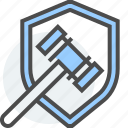 business, commerce, consumer, gavel, hammer, shield icon