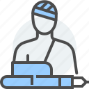 accident, character, justice, law, pen, personal injury, tort icon