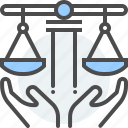damage, hands, health, insurance, law, property, scale icon