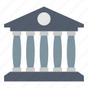 architecture, bank, building, estate, law & police icon