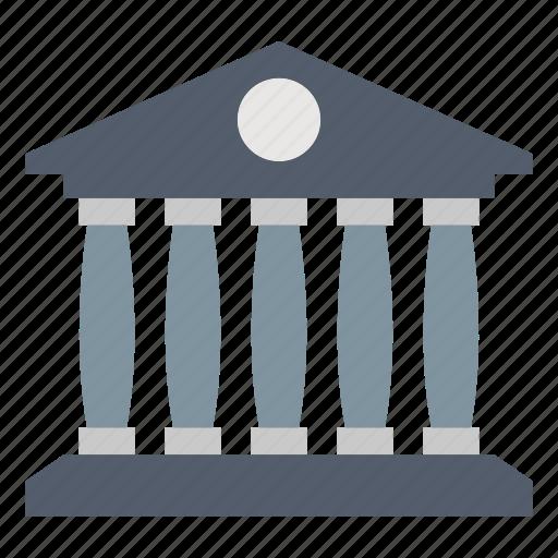 architecture, bank, building, estate, law & police icon