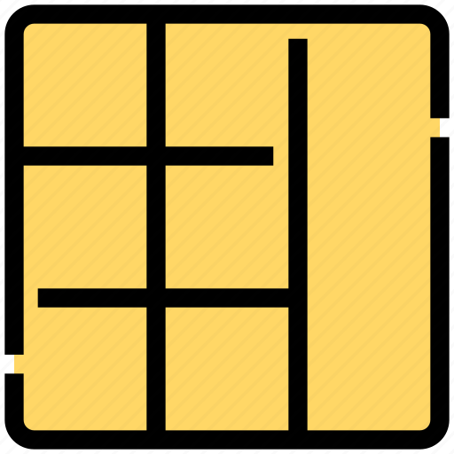 design, grid, layout, sections, seven, stacked icon