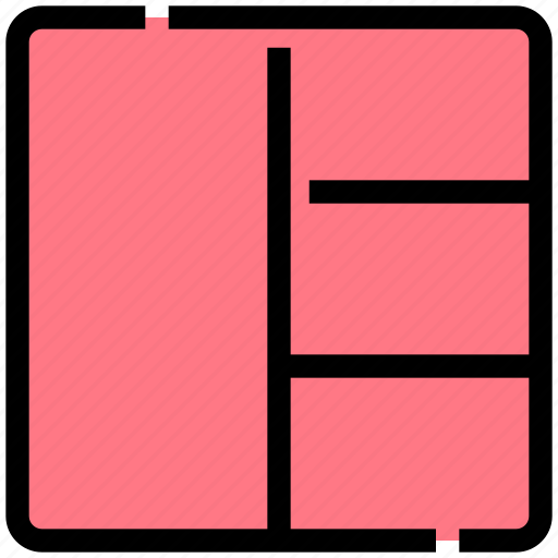 design, four, grid, layout, sections, stacked icon