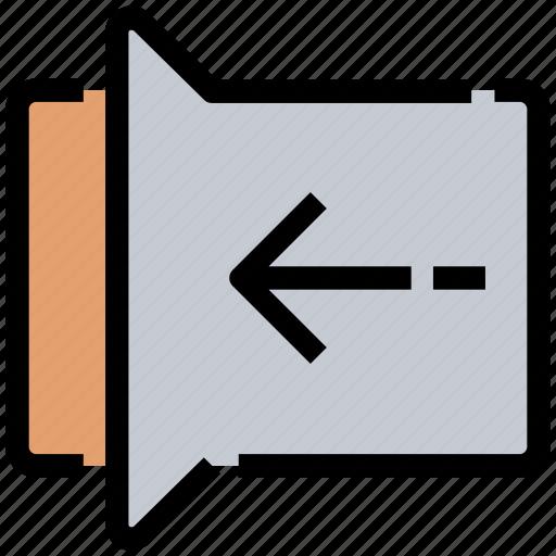 arrow, back, gesture, left, previous, slide icon