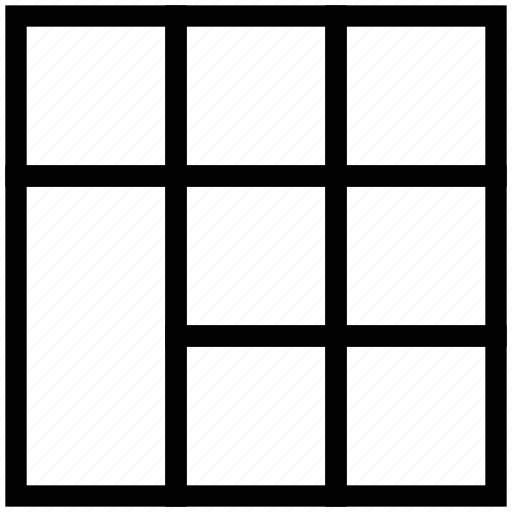 layout, page with sections, pattern, template, three rows, webpage layout icon