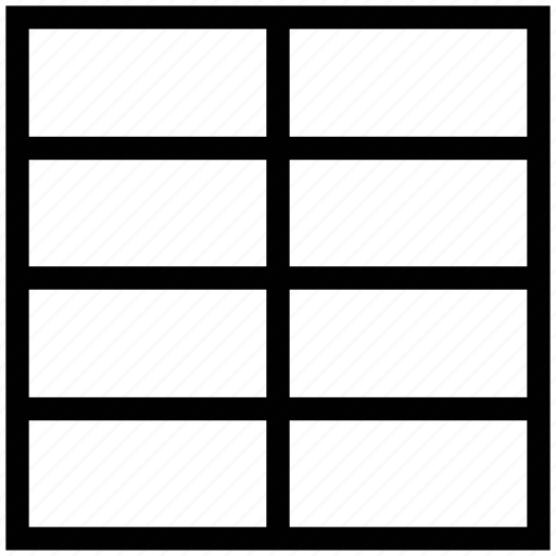 horizontal grid layout, page design, pattern, template, three rows, two column layout icon