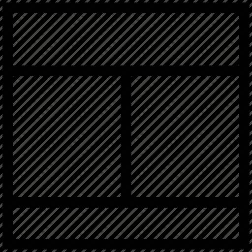 diagram, format, layout, one row, page design, scheme, three columns layout icon