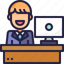 business man, desk, man, manager, office, service, worker icon