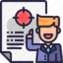 business man, marketing, planning, report, target icon