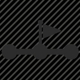 flag, half, learn, school, step, student icon