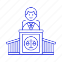 1, 2, case, courthouse, courtroom, judge, legal, magistrate, male, podium, trial icon