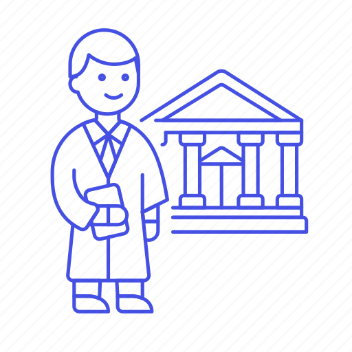 1, barrister, case, counsel, court, courthouse, justice, lawyer, legal, male, of, palace, robe, trial icon