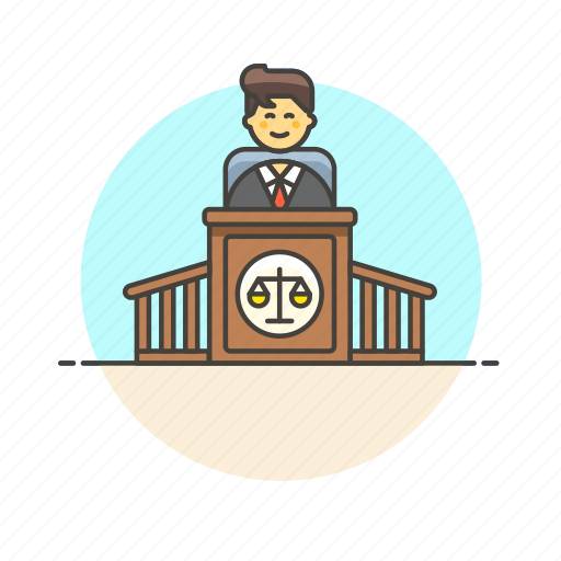 court, decision, judge, justice, law, legal, man, scale icon