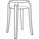 chair, charles, furniture, ghost, line, stool, tabouret icon