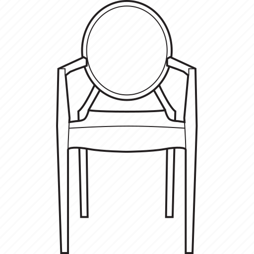 chair, design, designer, ghost, line, louis, stool icon