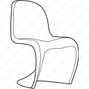 chair, design, designer, furniture, line, panton, stool icon
