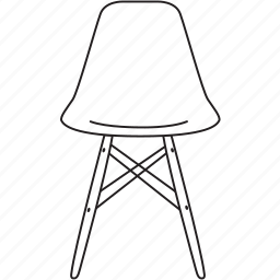chair, design, designer, eames, furniture, line, stool icon