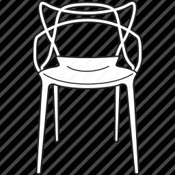 chair, design, designer, furniture, line, masters, stool icon