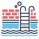 ladder, swimming pool, water, waves icon