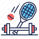 barbell, racket, tennis ball, training icon